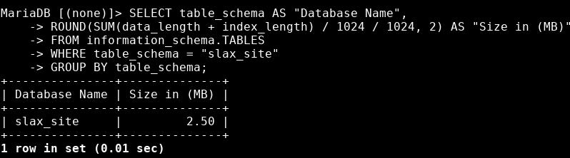 размер базы mysql